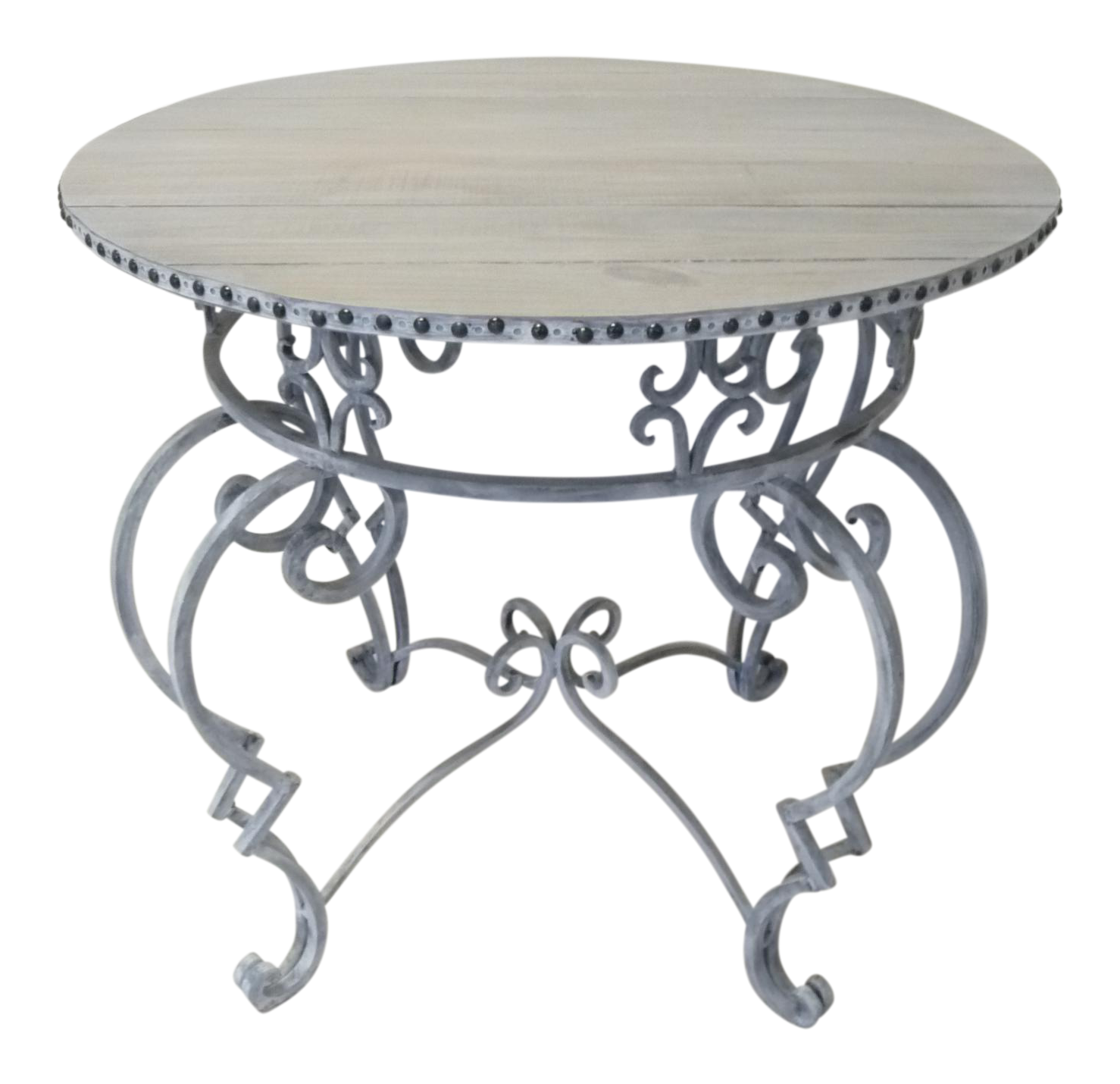 Gray Wrought Iron W Rustic Wood Slatted Top Round Table