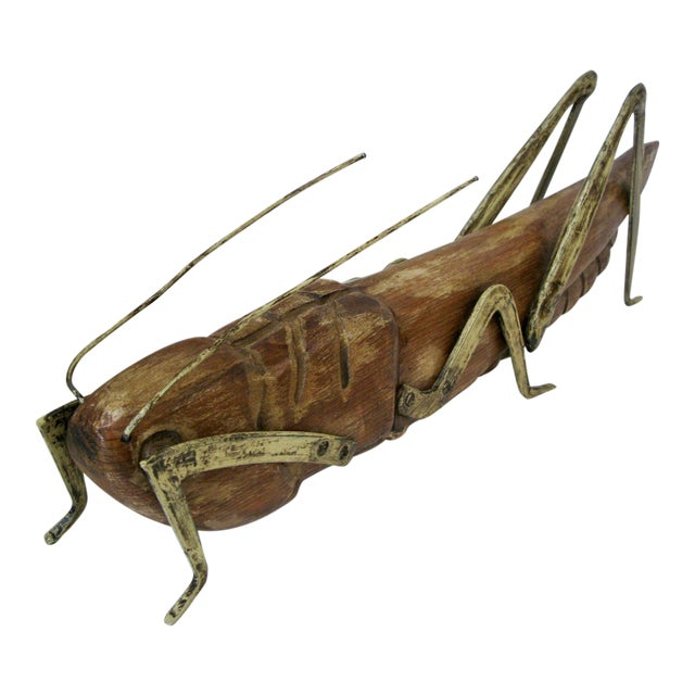 Huge Wood Grasshopper with Gilt Metal Legs For Sale