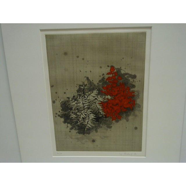 """American """"Red Flowers"""" Signed Print For Sale - Image 3 of 5"""