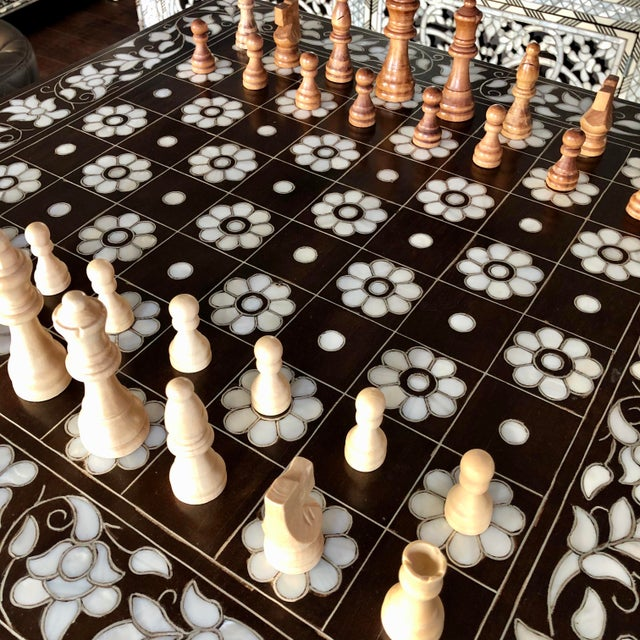 Mother of Pearl Inlay Chess Board Table For Sale In Los Angeles - Image 6 of 10