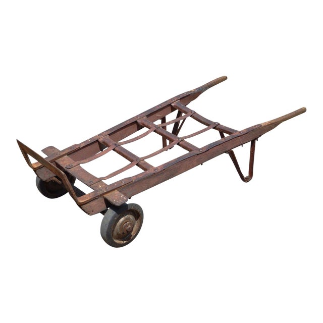 Antique Industrial Steampunk Distressed Iron & Wood Hand Truck Cart Coffee Table For Sale