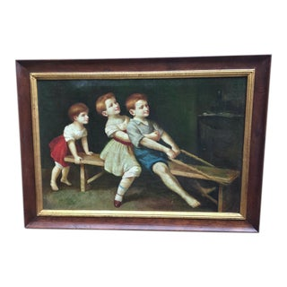 Children Playing Original Oil Painting