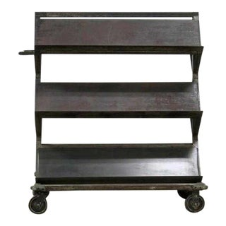 20th Century Industrial Heavy Metal Shelve Rolling Store Display Stand For Sale