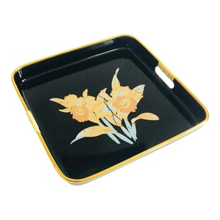 Mid Century Square Black Daffodil Tray For Sale