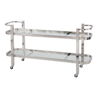 Regina Andrew Modern Polished Nickel and Glass Two-Tier Carter Bar Cart For Sale