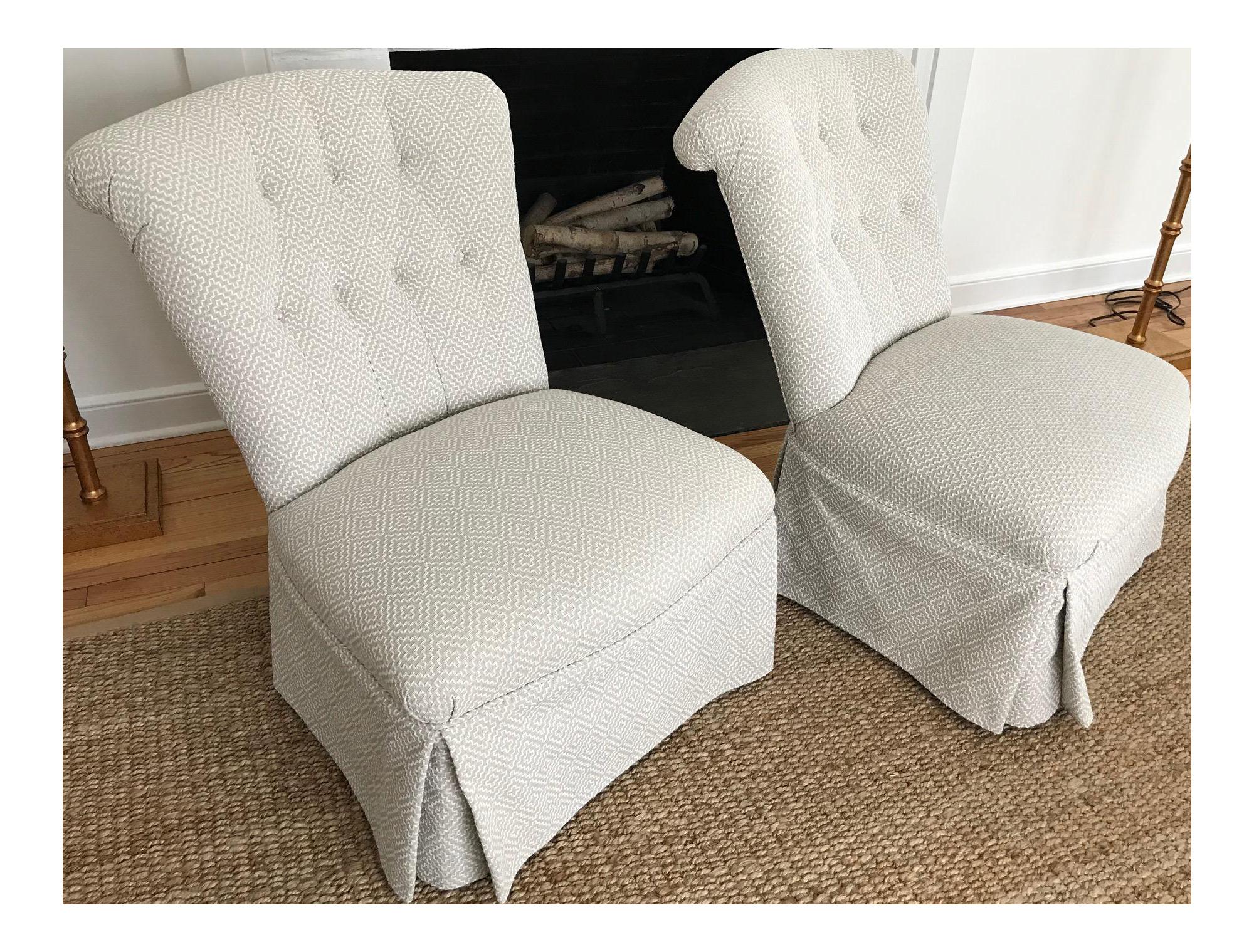 Armless Boudoir Chairs   A Pair