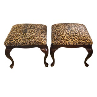 Mahogany Wood Queen Anne Pair of Stools with Animal Print For Sale