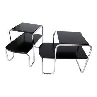 1940s Art Deco Bauhaus Chrome and Black Lacquer Step End Tables - a Pair For Sale