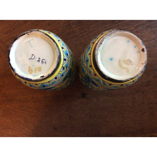 19th Century French Enameled Longwy Vases - a Pair For Sale - Image 11 of 12