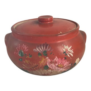 Vintage Hand Painted Tortilla Warmer Stoneware Jar For Sale