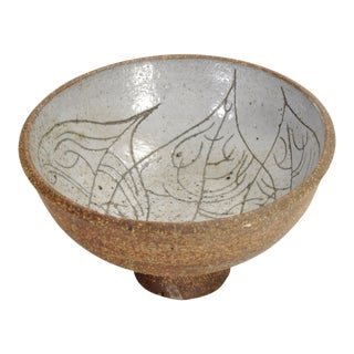 Small Mid-Century Stoneware Leaf Motif Bowl For Sale