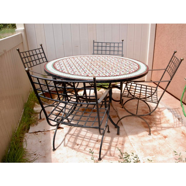 """Moroccan Zellij Red, Green, Yellow and White Mosaic Tile 52"""" Round Table & 4 Wrought Iron Arm Chairs For Sale - Image 13 of 13"""