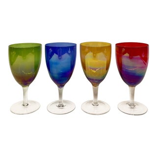Primary Colors Iridescent Wine Glasses- Set of 4 For Sale
