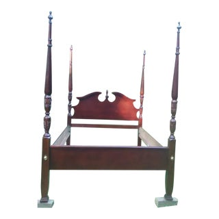 Ethan Allan Solid Cherry 4 Poster Mid Century Queen Size Bed. For Sale