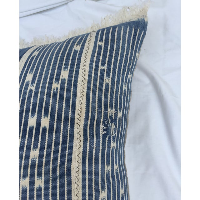 Indigo Ikat Fringe African Pillows - A Pair - Image 5 of 7