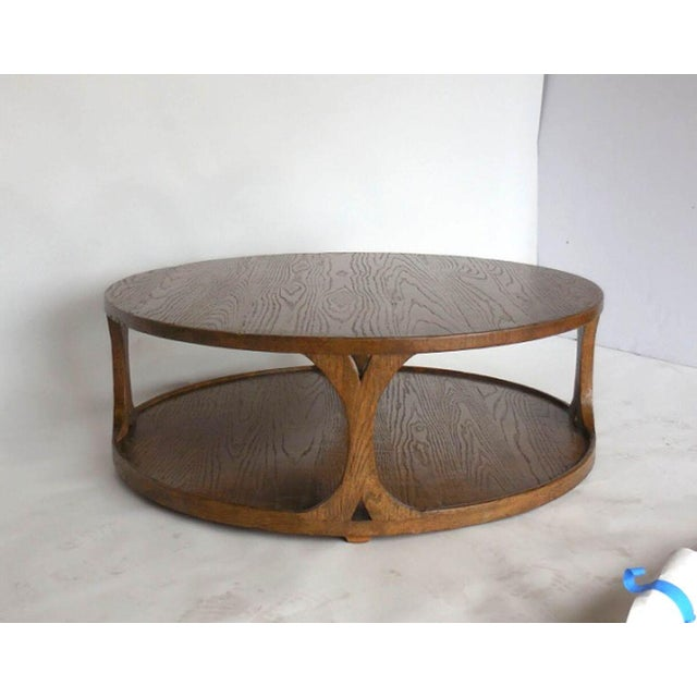 High End Round Coffee Tables: High-End Custom Round Oak Coffee Table
