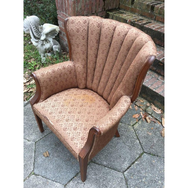 Gorgeous, sturdy channel back chair covered in its original fabric form the 1950's. Being Mid-Century vintage, it shows...