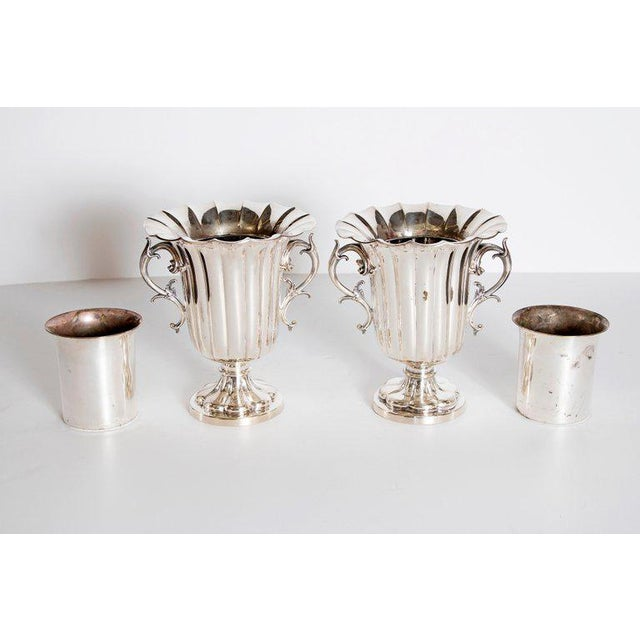 Silver Mid-19th Century Pair of Silver Plate Ice Vases by Elkington & Co., England For Sale - Image 8 of 13