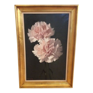 Pink Carnations Large Oil Painting by Michael W. Huggins For Sale