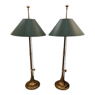 1980s Vintage Horn Motife Brass Table Lamps by Chapman- a Pair For Sale