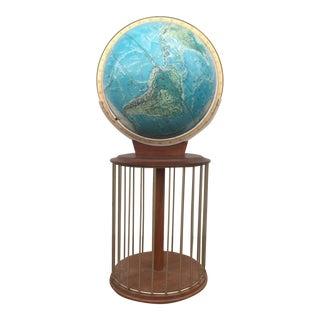 Vintage Teak Rotating Globe