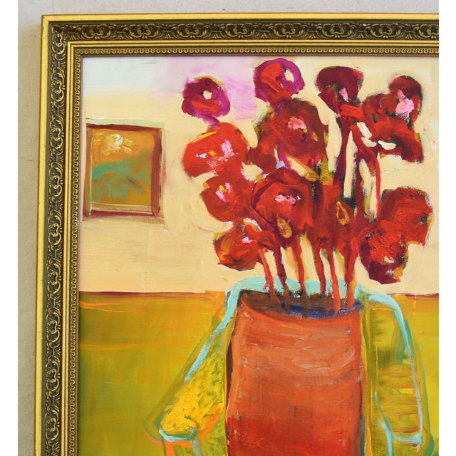 Abstract Original Juan Pepe Guzman Floral W/Red Flowers Oil Painting For Sale - Image 3 of 10