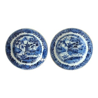 Antique 18th-Centry Kangxi Chinese Export Porcelain Blue Underglaze and White Plates - a Pair For Sale
