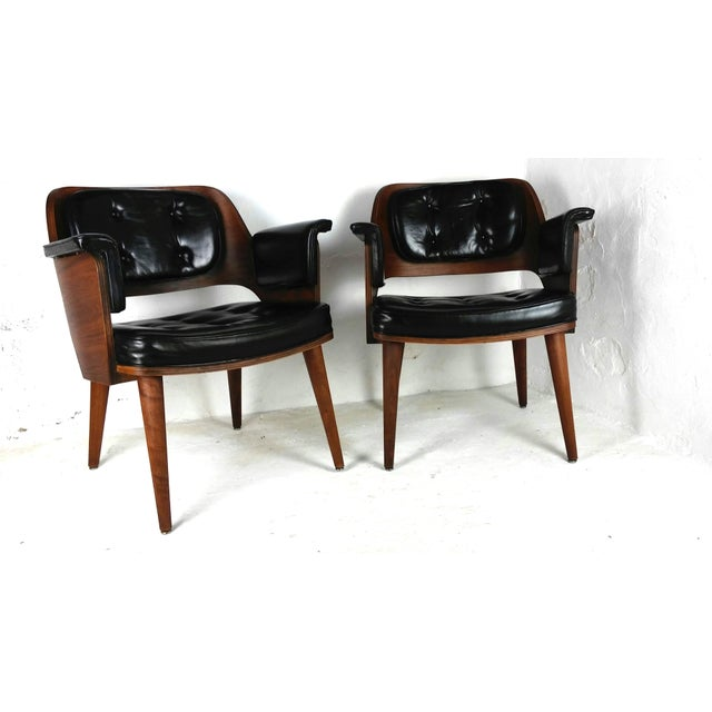 Mid-Century Danish Leather & Walnut Lounge Chairs - A Pair - Image 3 of 10