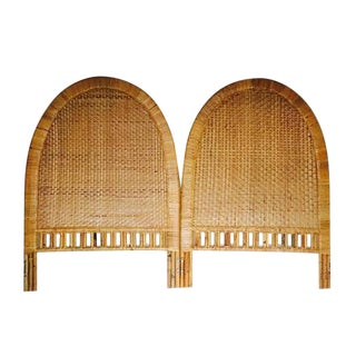 Mid Century Modern Bamboo Arch Headboards Twin Size Rattan Headboards - A PAIR
