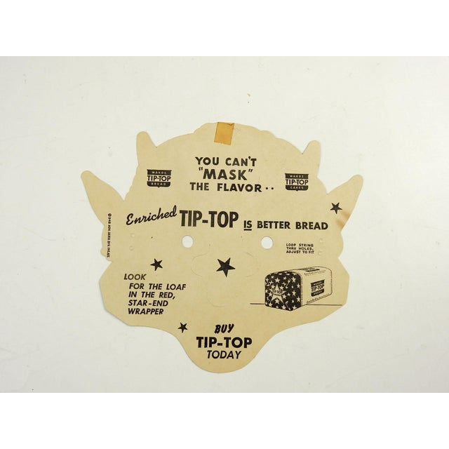 Halloween goblin mask made as premium give away advertising by Tip Top Bread Co. dated 1948. Made from heavy stock paper,...