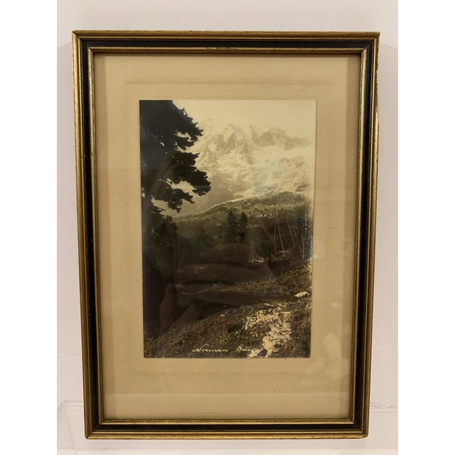 Mid 20th Century Vintage Mid-Century Black and White Framed Mountain Landscape Photograph For Sale - Image 5 of 5