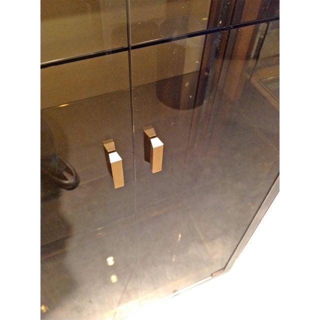 Mid Century Modern Italian Chrome, Brass & Smoked Glass Vitrine by Romeo Rega - Image 4 of 8