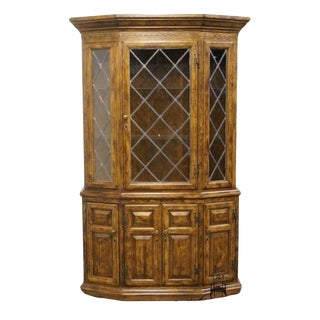 20th Century Traditional Century Furniture Country Classics Lighted Leaded Glass Display/China Cabinet For Sale