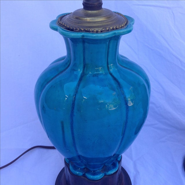 Chinese Vintage Turquoise Lamps - A Pair - Image 3 of 6