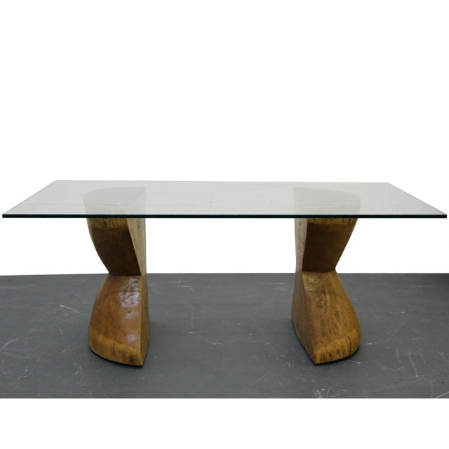 Pair of Raw Live Edge Wood Hourglass Dining Table Pedestals For Sale In Las Vegas - Image 6 of 6