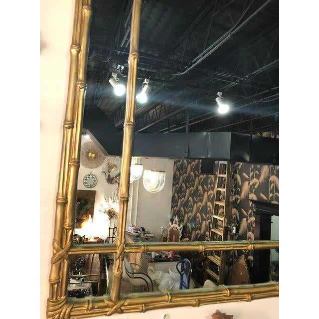 Asian Vintage Faux Bamboo Gold Wall Mirror For Sale - Image 3 of 10