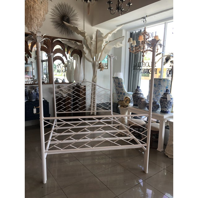 Amazing vintage Chinese Chippendale queen or full size four poster bed post bed. Palm tree leaf finials. All metal, newly...