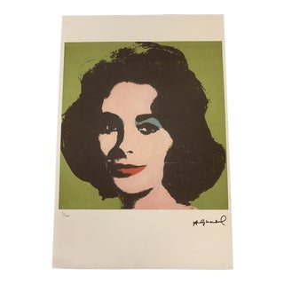 """Vintage Andy Warhol """"Liz #3"""" Limited Edition Print Signed Lithograph 15 X 23"""" For Sale"""