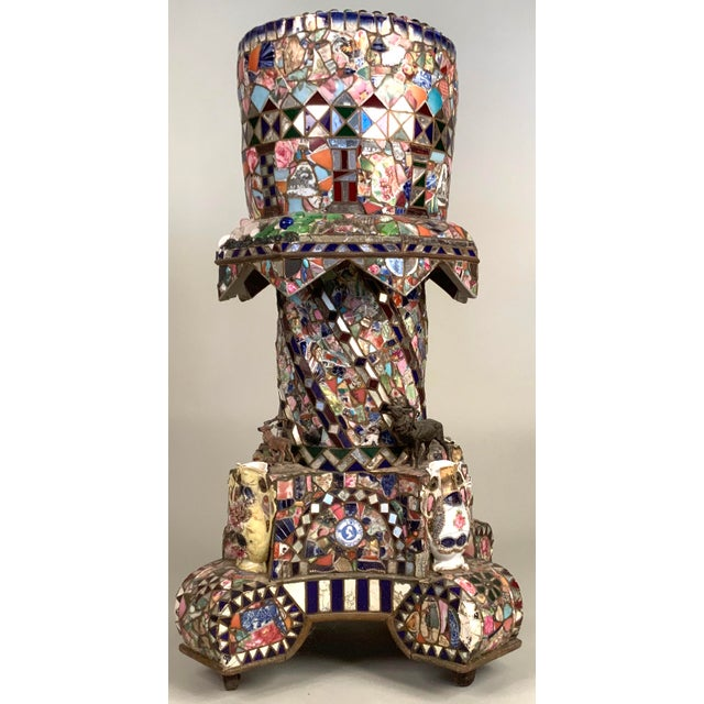 Antique 1920s Folk Art Memory Mosaic Plant Stand For Sale - Image 13 of 13