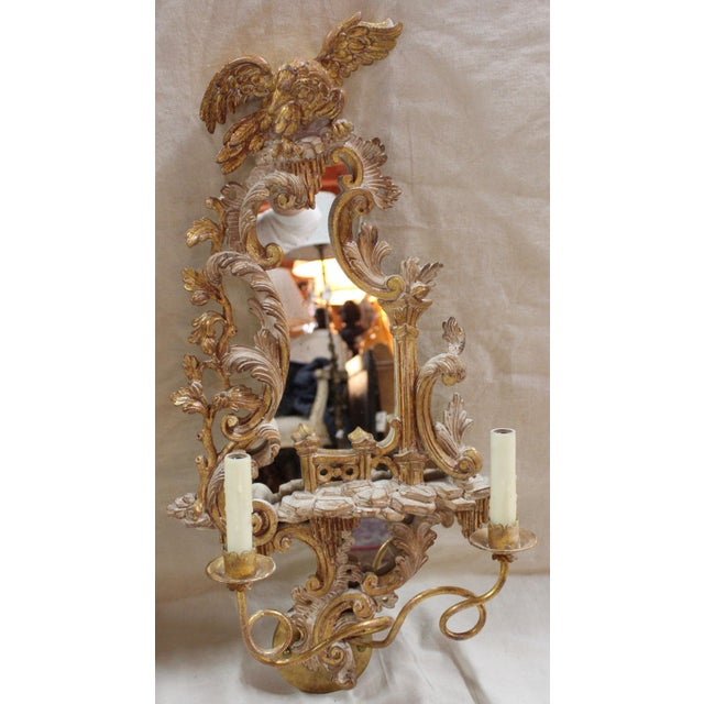 20th Century Rococo Gold Sconces- a Pair For Sale - Image 4 of 12
