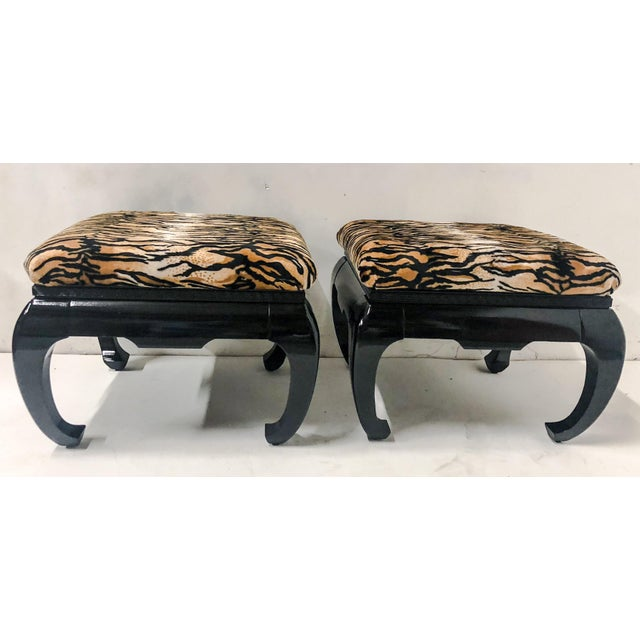 Lacquer Springer Style Asian Modern Ottomans, Pair For Sale - Image 7 of 7