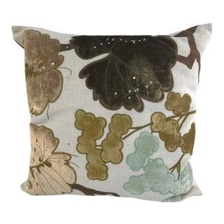 Swedish Designer Natural Linen Tischa Olive Green Pillow For Sale