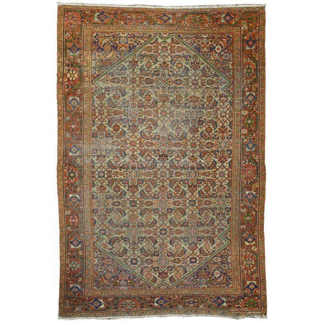 Distressed Antique Persian Mahal Rug with Modern Industrial Style For Sale - Image 5 of 5