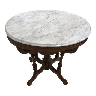 Vintage Mahogany Side Table With Marble Top For Sale