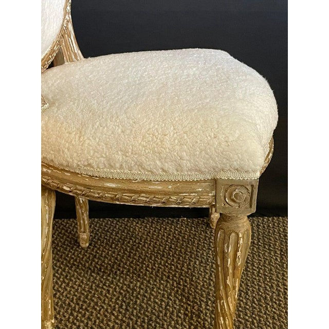 Wood Pair of Jansen Distressed Sherpa Upholstered Side Chairs For Sale - Image 7 of 10