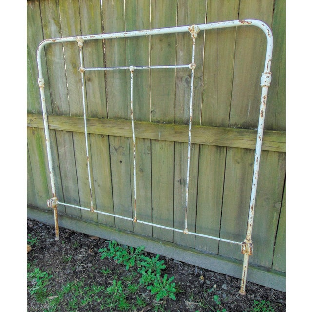 Distressed Antique Iron Headboard & Footboard For Sale - Image 4 of 10