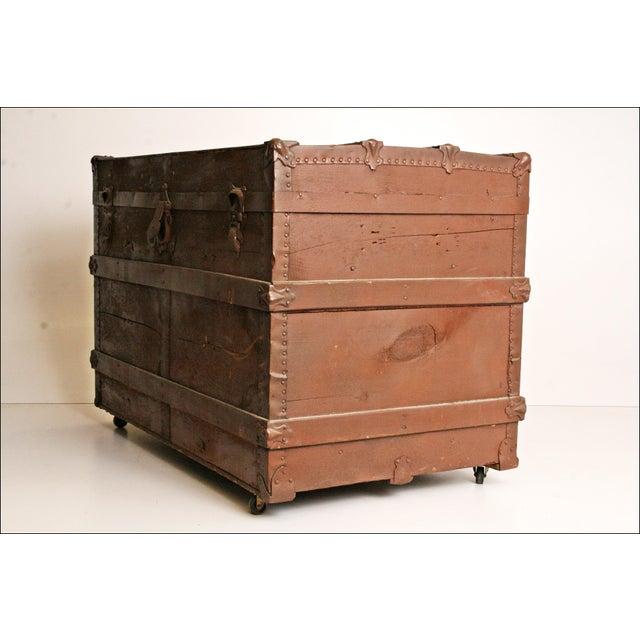 Vintage Brown Wood Steamer Trunk - Image 3 of 11