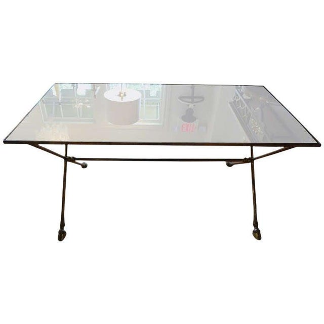 1940's Vintage French Maison Bagues Style Bronze and Mirrored Coffee Table For Sale - Image 9 of 10