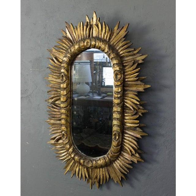 Spanish 1950s Giltwood Oval Sunburst Mirror For Sale - Image 4 of 10