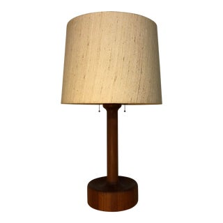 Mid Century Teak Table Lamp With Original Shade For Sale